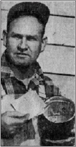 "Newspaper photo of electrician holding the time capsule, from ""Old OctagonYields Story,"" San Francisco News, March 30, 1953"