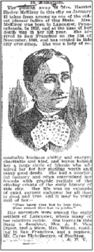 Harriet McElroy's newspaper obituary, The San Francisco Call, Friday, January 20, 1899.