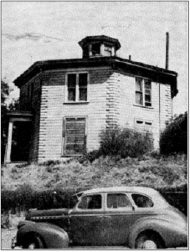 "Photo of the Octagon House from ""Colonial Dames Come to the Rescue of Famous Octagon House"" by June Hogan.San Francisco Chronicle, July 27, 1952."