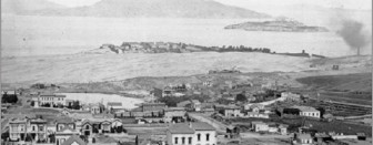 Jackson Street, between Gough and Octavia, probably in the 1870s. Photograph by Carleton Watkins. Washerwoman's Lagoon, the sand hill north of Lombard, and Fort Mason are prominently visible. The McElroy octagon house can be seen at its original location, the southeast corner of Union and Gough. Photo courtesy of the Greg Gaar collection.