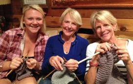 Bev Kjeldsen (NoCal Dame) and her granddaughters knitting scarves and helmet liners for our troops